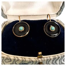 Vermeil Leverback Turquoise and Onyx Cabochon Earrings