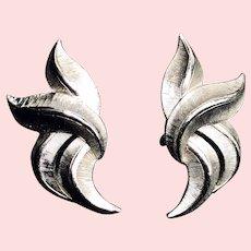Vintage Crown Trifari Silver Clip Earrings
