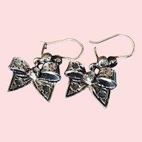 Victorian 14K Rose Gold Silver Diamond Bowtie Dangle Earrings