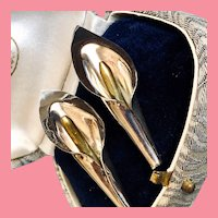 Vintage Calla Lily Sterling Earrings