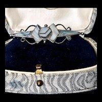 Antique Scottish Solid Sterling Silver Banded Montrose Agate Brooch