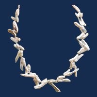 Vintage Large White Freshwater Stick Biwi Pearl Necklace