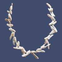 Vintage Large White Freshwater Stick Biwi Pearl Necklace