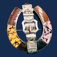 Victorian Scottish Agate Sterling Silver Horseshoe Brooch