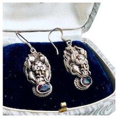 Bohemian Garnet Sterling Silver Dangling Earrings