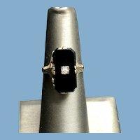 Vintage 12K White Gold Filigree Onyx Diamond Ring
