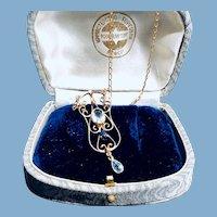 Art Nouveau 14K Yellow Gold Aquamarine Sapphire Diamond Necklace