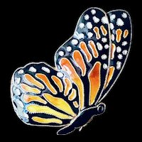 Cloisonné Enamel Monarch Butterfly Sterling Silver 24k Gold Wash Brooch