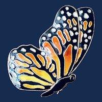 Cloisonné Enamel Monarch Butterfly Sterling Silver 24k Gold Wash Brooch