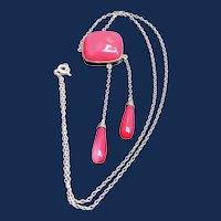 Art Deco Rose Quartz Sterling Lingerie Necklace