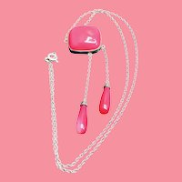 Art Deco Rose Quartz Sterling Lingerie Necklace