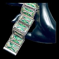Very Old Chinese Silver and Enamel Bracelet