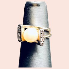 14k Yellow Gold Freshwater Pearl and Diamond Ring Size 4 1/2