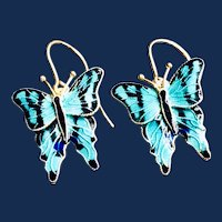 Vintage Cloisonné Enamel Butterfly Sterling Silver 24k Gold Wash Earrings