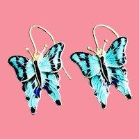 Vintage Cloisonné Enamel Butterfly Sterling Silver 24k Gold Wash Earrings