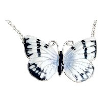 1970s Cloisonné Enamel Butterfly Sterling Silver Pendant Necklace