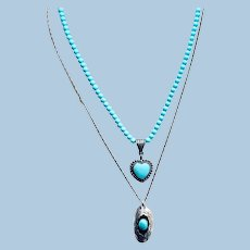 A Pair of Southwestern Vintage Turquoise Necklaces