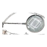 Vintage Sterling Silver Neck Chain with Magnifying Glass