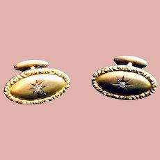 Antique 12K Yellow Gold Diamond Cufflinks