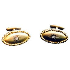Antique 12K Yellow Gold Diamond Cufflinks