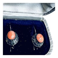 Vintage Coral Pierced Earrings, May Birthstone, Sterling and Coral