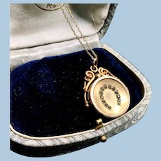 Victorian Paste Horseshoe Gold Filled Locket with 14K Gold Chain