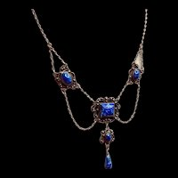 Art Deco Denim Lapis Necklace