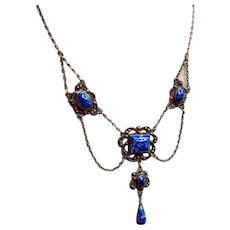 Art Deco Denim Lapis Necklace