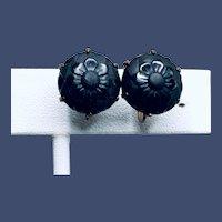 Vintage Black Dahlia Stud Earrings
