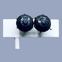 Vintage Black Dahlia Stud Earrings