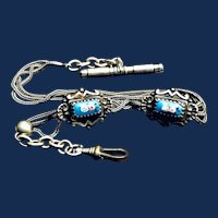 Art Nouveau Silver and Enamel Watch Chain and Fob