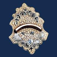 Victorian GF Taille d'Epargne Black Enamel Brooch