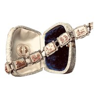 Vintage Marcasite 800 Silver Italian Carved Shell Cameo Antiquities Bracelet