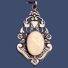 Vintage Opal Flower Pendant Sterling Necklace