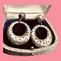 Vintage Mexican Sterling Silver Pierced Earrings Large Filigree Dangle