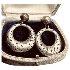 Vintage Mexican Sterling Silver Pierced Earrings Large Filigree Dangle
