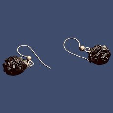 Hand Carved Whitby Jet Sterling Silver Earrings