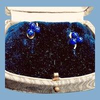 Vintage 14K Gold Lapis Lazuli Stud Earrings