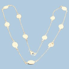 Sterling Silver Chain and Moonstones Necklace - Mid-century
