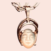 Vintage Moonstone Sterling Man-in-the-moon Face