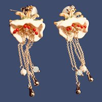 Chinese Handmade Gold Plated Enamel Tassel Blossom Dangle Earrings