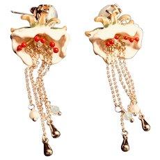 Chinese Handmade Gold Plated Enamel Tassel Blossom Dangle Earrings