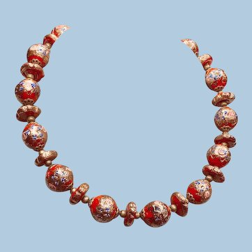 Venetian Murano Red and Gold Wedding Cake Bead Necklace