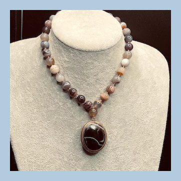 Antique Victorian Banded Agate Locket Beads Necklace