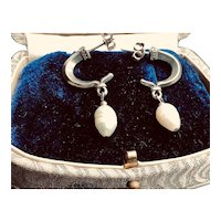 Sterling Silver Baroque Pearl Earrings