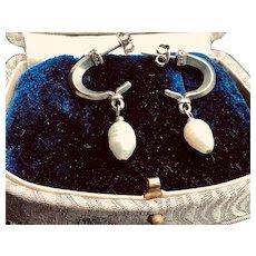 Sterling Silver Baroque Pearl Earrings