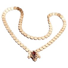 Fine Victorian Bookchain Necklace Rolled Gold with Gold Front