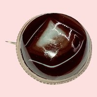 Victorian Large Banded Agate in Sterling