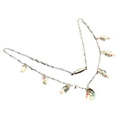 Art Deco Czech Peanut Crinkle Chain with Colorful Briolette Cut Faceted Crystal