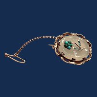 Victorian White Onyx 14K and Turquoise Brooch